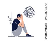 anxiety concept. frustrated... | Shutterstock .eps vector #1982873870