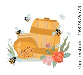honey in jar and barrel with...   Shutterstock .eps vector #1982876573