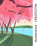 blooming sakura on river bank....   Shutterstock .eps vector #1982922746
