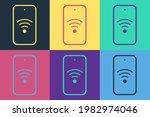 pop art smartphone with free wi ... | Shutterstock .eps vector #1982974046