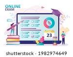 woman takes online exam....   Shutterstock .eps vector #1982974649