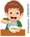 boy is having cereal for... | Shutterstock .eps vector #198298739