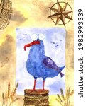 Funny Watercolor Gull On A...