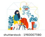 woman at home reading a book in ... | Shutterstock .eps vector #1983007580