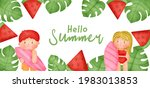 tropical summer banner with... | Shutterstock .eps vector #1983013853
