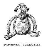 cute vintage monkey. antique...   Shutterstock .eps vector #1983025166