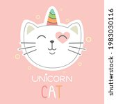 cute cat unicorn with words ... | Shutterstock .eps vector #1983030116