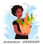 a woman holds a paper bag with...   Shutterstock .eps vector #1983033659