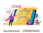 students take exams online....   Shutterstock .eps vector #1983054443