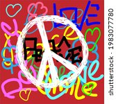 Peace Sign On A Colorful...