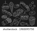 fast food hand drawn doodle set.... | Shutterstock .eps vector #1983095750