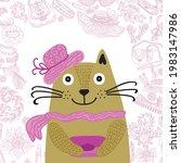 cute cartoon cat. vector...   Shutterstock .eps vector #1983147986
