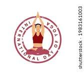 international day of yoga badge ...   Shutterstock .eps vector #1983161003