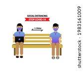 social distancing illustration...   Shutterstock .eps vector #1983161009