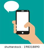 hand holding black smartphone ... | Shutterstock .eps vector #198318890