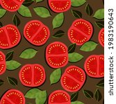 tomato and basil pattern....   Shutterstock .eps vector #1983190643
