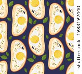 bruschetta with egg. summer...   Shutterstock .eps vector #1983192440
