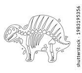 dinosaur skeleton in cartoon...   Shutterstock .eps vector #1983195356
