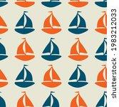 coastal sail boat drawn... | Shutterstock .eps vector #1983212033