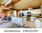 Log Cabin House Interior. View...
