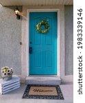 Vertical Light Blue Front Door...