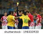 Постер, плакат: Neymar of Brazil receives