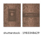 brown and gold invitation card...   Shutterstock .eps vector #1983348629