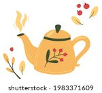 teapot with tea and berries.... | Shutterstock .eps vector #1983371609