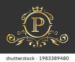 golden stylized letter p of the ...   Shutterstock .eps vector #1983389480