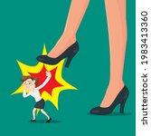 big foot businesswoman stepping ... | Shutterstock .eps vector #1983413360