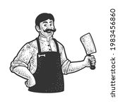 Butcher With Cleaver Knife Line ...