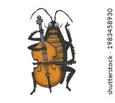 cartoon cockroach orchestra... | Shutterstock . vector #1983458930