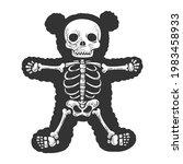 teddy bear skeleton line art... | Shutterstock . vector #1983458933