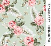pink vector flowers with green... | Shutterstock .eps vector #1983459806