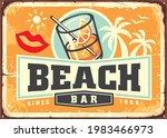 tropical beach bar sign board... | Shutterstock .eps vector #1983466973