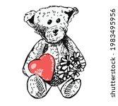 cute teddy bear vintage toy...   Shutterstock .eps vector #1983495956