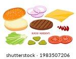 burger ingredient set isolated...   Shutterstock .eps vector #1983507206