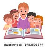 teacher reading to kids aloud.... | Shutterstock .eps vector #1983509879
