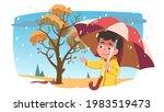 boy kid wear raincoat walk ... | Shutterstock .eps vector #1983519473