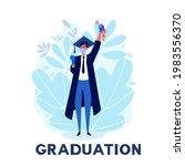 a man student celebrating... | Shutterstock .eps vector #1983556370