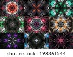 Rainbow Set Of Fractal Mandala...