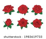 red roses hand drawn color set. ... | Shutterstock .eps vector #1983619733