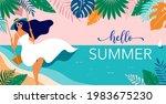 summer scene  young woman... | Shutterstock .eps vector #1983675230