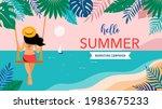 summer scene  young woman... | Shutterstock .eps vector #1983675233