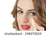 beautiful young woman using... | Shutterstock . vector #198373010
