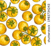 tomato sketch pattern. tomatoes ... | Shutterstock .eps vector #1983734243