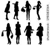 vector silhouette of women on a ... | Shutterstock .eps vector #198383564