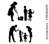 vector silhouette of family on... | Shutterstock .eps vector #198383609