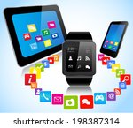 smartwatch smart phone tablet... | Shutterstock .eps vector #198387314