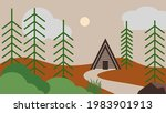 a frame lodge in the pine...   Shutterstock .eps vector #1983901913